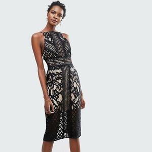 Keepsake Bridges - Black Lace Midi Dress